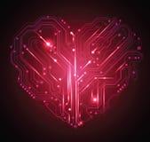 Fundo do coração da placa de circuito Imagem de Stock