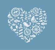 Fundo do coração do mar, azul, vetor ilustração royalty free