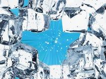 Fundo do cubo de gelo com espaço vazio Imagens de Stock