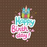 Fundo do cumprimento do feliz aniversario com uma coruja Imagens de Stock