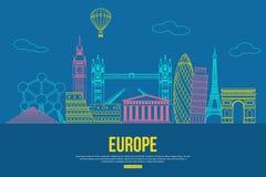 Fundo do curso de Europa com lugar para o texto Sightseeings e símbolos esboçados europeu isolados Skyline detalhada ilustração stock