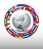 Fundo do curso Globo com uma tira das bandeiras Imagem de Stock Royalty Free