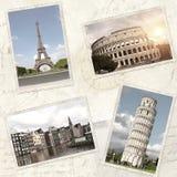 Fundo do curso do vintage com as fotos retros do marco europeu Fotografia de Stock