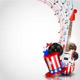 Fundo do Dia da Independência com tema da música ilustração stock