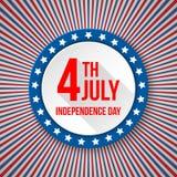 Fundo do Dia da Independência dos EUA 4 de julho celebração nacional Molde patriótico com texto, listras e estrelas para Foto de Stock Royalty Free