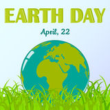 Fundo do Dia da Terra do mundo com o globo na grama no estilo dos desenhos animados Instrução ambiental e do clima Ilustração do  Imagens de Stock Royalty Free