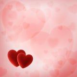 Fundo do dia de Valentim com corações vermelhos Imagens de Stock Royalty Free