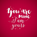 Fundo do dia de Valentim com texto você é o meu, mim é o vosso Foto de Stock Royalty Free
