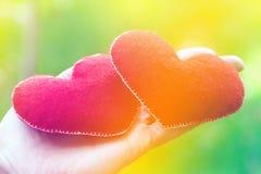 Fundo do dia de Valentim Coração dois nas folhas Conceito do amor imagem de stock royalty free