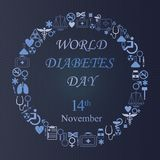 Fundo do dia do diabetes do mundo com ícone redondo da medicina Imagem de Stock Royalty Free