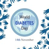 Fundo do dia do diabetes do mundo com braços abertos Fotografia de Stock Royalty Free