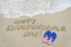 Fundo do dia dos EUA da independência na praia Fotografia de Stock Royalty Free