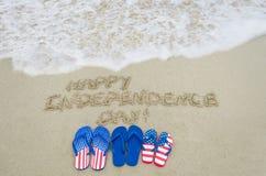 Fundo do dia dos EUA da independência na praia Imagens de Stock Royalty Free