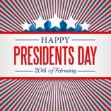 Fundo do dia dos presidentes O molde patriótico do vetor dos EUA com texto, listra e protagoniza em cores da bandeira americana Fotos de Stock