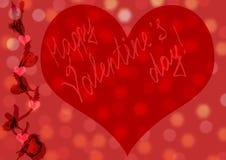 Fundo do dia dos Valentim com corações Carro feito a mão vermelho do cumprimento Imagem de Stock
