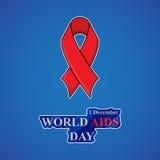 Fundo do Dia Mundial do Sida com a fita vermelha da conscientização dos auxílios Imagem de Stock