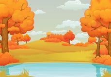 Fundo do dia do outono Lago ou rio com arbustos e as árvores alaranjados ilustração royalty free