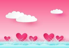 Fundo do dia do ` s do Valentim com corações, nuvens e grama Estilo de papel Vetor EPS 10 ilustração stock