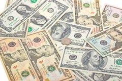 Fundo do dinheiro das notas de banco diferentes dos E.U. Fotografia de Stock Royalty Free