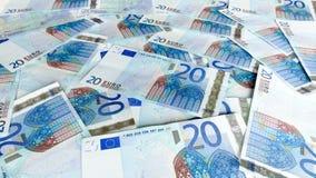 Fundo do dinheiro do Euro vinte Fotos de Stock