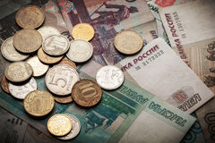 Fundo do dinheiro do russo Rublos das cédulas e as moedas Foto de Stock Royalty Free