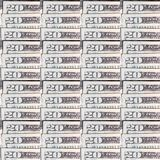 Fundo do dinheiro; Vinte notas de dólar Imagem de Stock Royalty Free