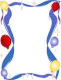 Fundo do divertimento, o brilhante, do balão, da estrela e da fita Imagem de Stock