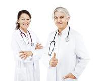 Fundo do doutor da mulher e do branco do doutor fotografia de stock