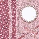 Fundo do encanto do vintage com matéria têxtil pontilhada Fotografia de Stock