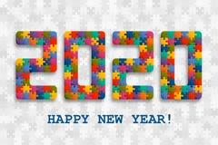 fundo 2020 do enigma de serra de vaivém com muitas partes coloridas Projeto de cartão do ano novo feliz Molde abstrato do mosaico ilustração stock