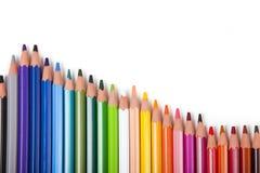 Fundo do escritório, lápis coloridos com espaço da cópia Fotografia de Stock Royalty Free