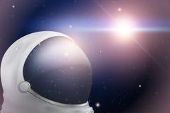 Fundo do espaço com capacete do astronauta ilustração stock