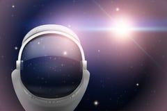 Fundo do espaço com capacete do astronauta ilustração royalty free