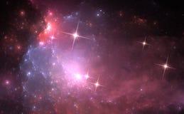 Fundo do espaço com nebulosa e as estrelas roxas Fotografia de Stock Royalty Free