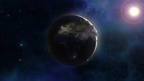 fundo do espaço 3D com terra no céu da nebulosa ilustração do vetor