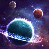 Fundo do espaço de vetor com o planeta três Fotografia de Stock Royalty Free