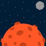 Fundo do espaço do estilo dos desenhos animados com planeta Foto de Stock Royalty Free