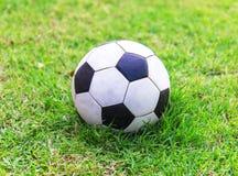 Fundo do esporte do jogo de campo do futebol do estádio da bola da grama verde do futebol para o projeto Fotografia de Stock