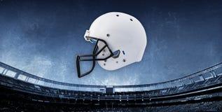 Fundo do estádio de futebol com capacete Imagens de Stock Royalty Free