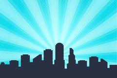 Fundo do estilo da banda desenhada, esboços grandes da skyline da cidade ilustração royalty free