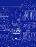 Fundo do estilo do mapa dos desenhos animados da cozinha Imagens de Stock