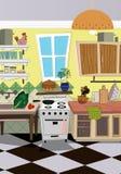 Fundo do estilo dos desenhos animados da cozinha Imagem de Stock