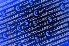Fundo do Eurodólar no azul Fotografia de Stock Royalty Free