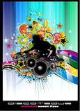 Fundo do evento do disco com elementos coloridos Fotos de Stock Royalty Free