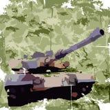 Fundo do exército com tanque Cópia do fato Vetor Fotos de Stock Royalty Free