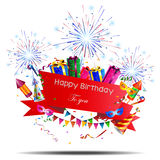 Fundo do feliz aniversario com fogo de artifício Foto de Stock Royalty Free