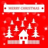Fundo do Feliz Natal com casa e threes e estrelas Imagens de Stock Royalty Free