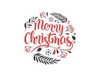 Fundo do Feliz Natal com a tipografia, rotulando Cartão, bandeira e cartaz ilustração do vetor