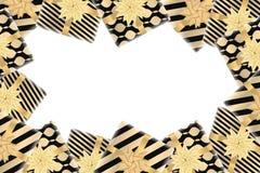 Fundo do Feliz Natal e do ano novo feliz com caixas de presente Projeto moderno Fundo universal para o cartaz, bandeiras, insetos Imagens de Stock