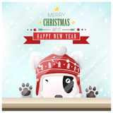 Fundo do Feliz Natal e do ano novo feliz com o cão que está atrás da janela ilustração stock